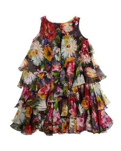 Floral Silk Chiffon Sleeveless Dress  Size 8-12