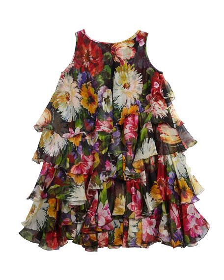 Floral Silk Chiffon Sleeveless Dress, Size 8-12