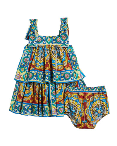 Sleeveless Maiolica Print Dress w/ Matching Bloomers  Size 12-30 Months