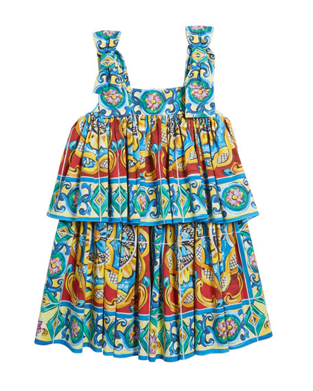 Sleeveless Maiolica Print Dress, Size 8-12