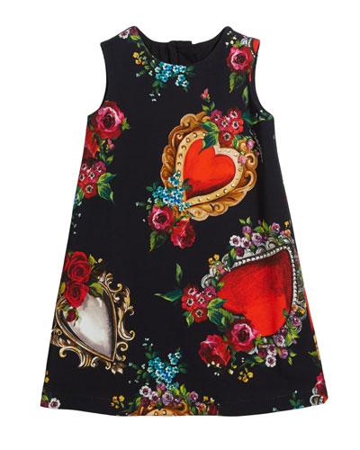 Heart & Rose Print Sleeveless Dress  Size 8-12