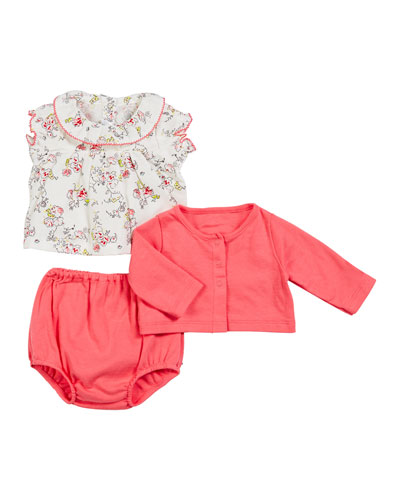 Ruffle Collar Floral Top w/ Solid Cardigan & Bloomers  Size 3-18 Months