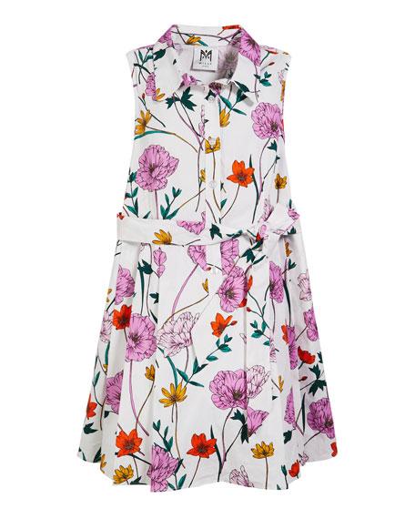 Milly Minis Poppy Print Poplin Shirt Dress, Size