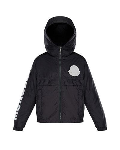 Hooded Nylon Jacket w/ Logo Sleeve  Size 4-6