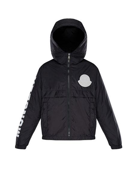 Hooded Nylon Jacket w/ Logo Sleeve, Size 4-6