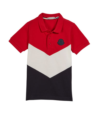 Tricolor Short-Sleeve Polo Shirt  Size 8-14