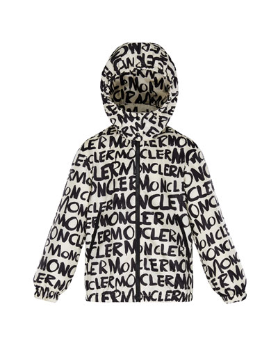 Logo Printed Nylon Hooded Jacket  Size 4-6