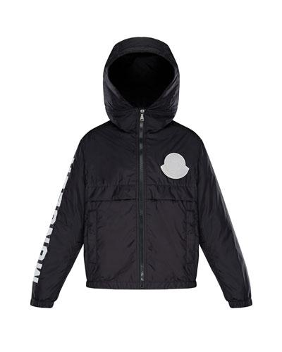 Hooded Nylon Jacket w/ Logo Sleeve  Size 8-14