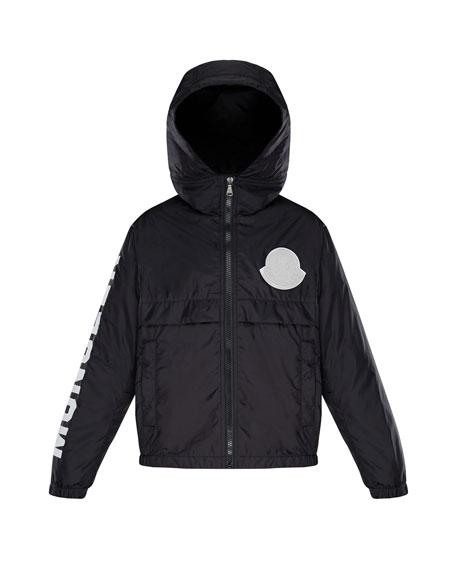 Moncler Hooded Nylon Jacket w/ Logo Sleeve, Size