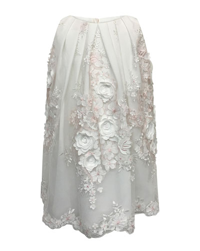 3D Flower Lace Embroidered Dress  Size 7-14