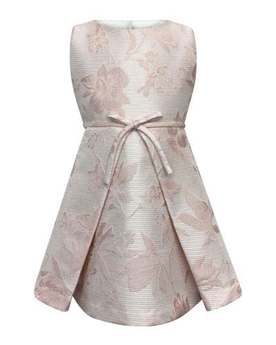 Sleeveless Floral Jacquard Dress  Size 7-14