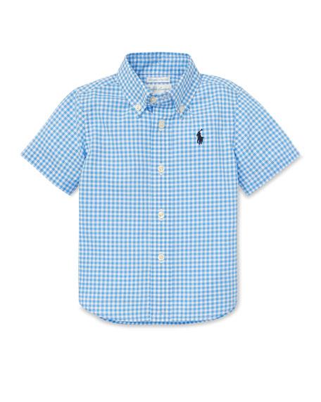 de04acafa Ralph Lauren Childrenswear Gingham Short-Sleeve Collared Shirt, Size 12-24  Months