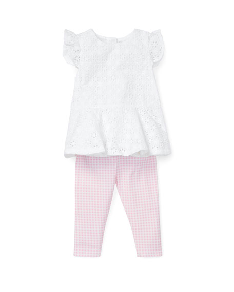 Eyelet Woven Top w/ Gingham Leggings, Size 6-24 Months