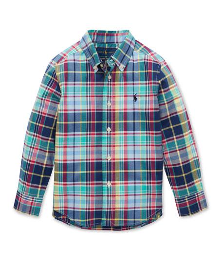 Ralph Lauren Childrenswear Button-Down Collar Plaid Shirt, Size