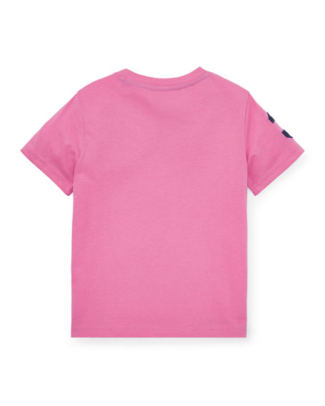Jersey Cotton T-Shirt w/ Number Patch Sleeve, Size 2-4
