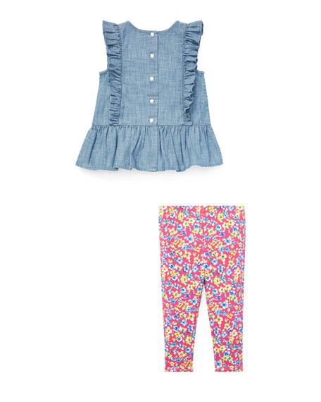 Ruffle Chambray Top w/ Floral Leggings, Size 6-24 Months