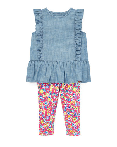 Ruffle Chambray Top w/ Floral Leggings  Size 6-24 Months