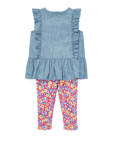 Ralph Lauren Childrenswear Ruffle Chambray Top w/ Floral