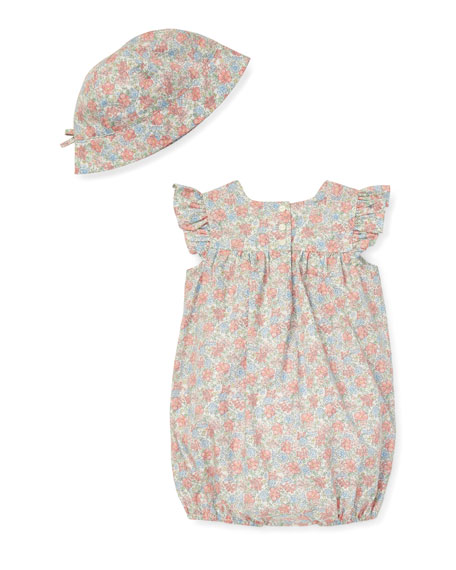 Floral Smocked Bubble Shortall w/ Matching Hat, Size 3-12 Months