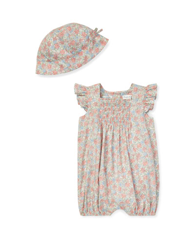 Floral Smocked Bubble Shortall w/ Matching Hat  Size 3-12 Months