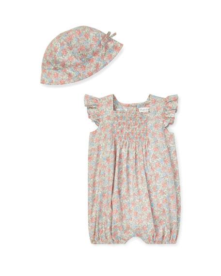 Ralph Lauren Childrenswear Floral Smocked Bubble Shortall w/