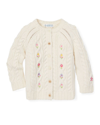 Cable Knit Floral Embroidered Button-Front Sweater  Size 6-24 Months