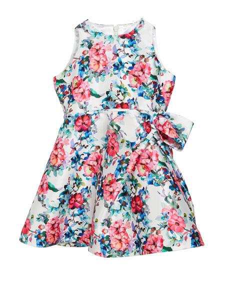 Floral Taffeta Sleeveless Dress, Size 2-6