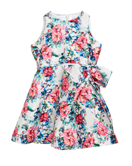 Floral Taffeta Sleeveless Dress, Size 7-14