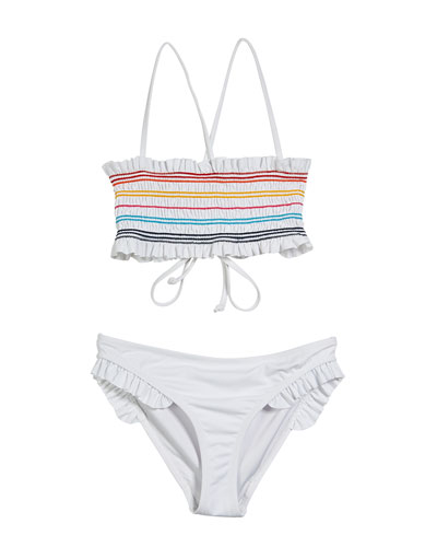 36a4981c3c Multicolored Smocked Two-Piece Bandeau Swimsuit Size 7-16