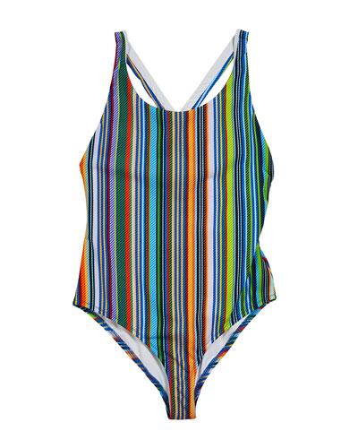 Multi-Stripe One-Piece Swimsuit  Size 7-16