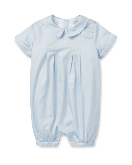 Box Pleated Cotton Shortall, Size 3-12 Months