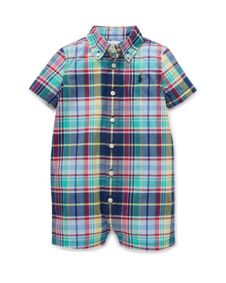 Button-Down Collar Plaid Shortall, Size 3-12 Months