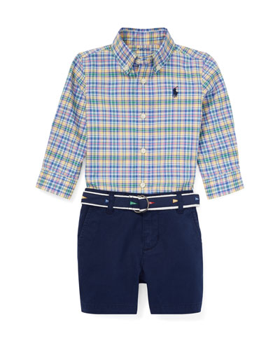 cc7d4ee33 Plaid Button-Down Collar Shirt w/ Solid Shorts & D-Ring Belt Size