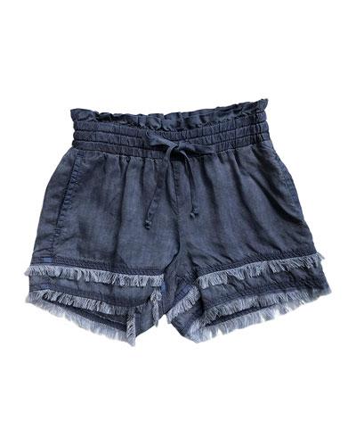 Fray Hem Flowy Shorts  Size 8-14