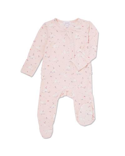 Bunnies Ruffle-Trim Footie Pajamas  Size 0-9 Months