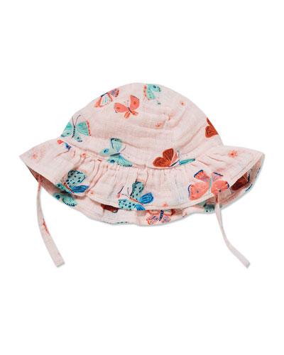 Butterfly Print Muslin Sun Hat  Size 0-24 Months