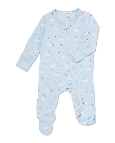 Bunnies Printed Zip-Front Footie Pajamas  Size 0-9 Months