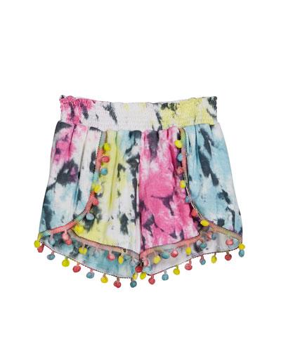 Tie Dye Print Pompom Shorts  Size S-XL