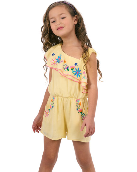 Floral Embroidered Woven One-Shoulder Romper, Size 4-6