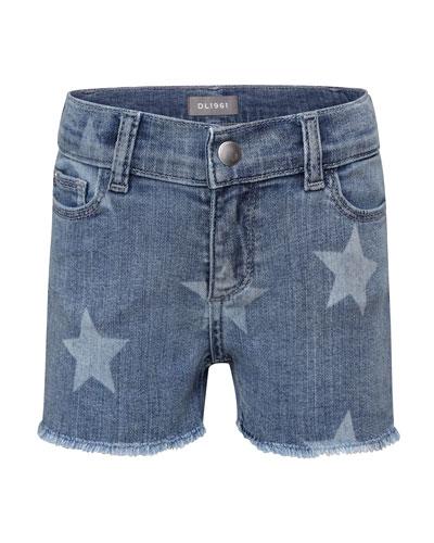 Girls' Lucy Star-Print Denim Shorts  Size 7-16