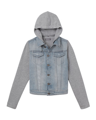 f6aac8fdf6e2 Promotion Manning Denim Jacket w  Jersey Hood   Sleeves Size S-L