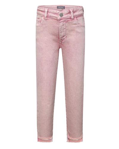 Girls' Chloe Skinny Raw-Hem Acid Wash Jeans  Size 7-16