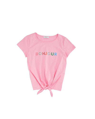 Bonjour Tie Front Tee  Size 7-16