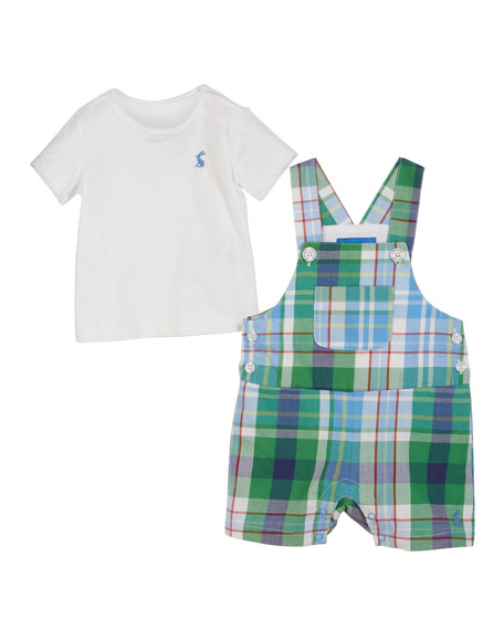Joules Duncan Plaid Overalls w/ Solid Tee, Size