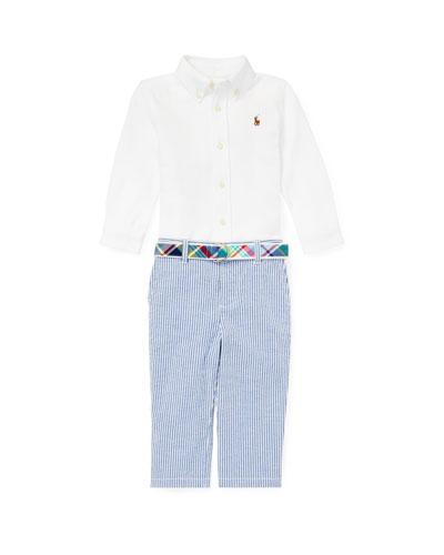 Button-Down Collar Top w/ Striped Seersucker Pants & Plaid D-Ring Belt  Size 6-24 Months