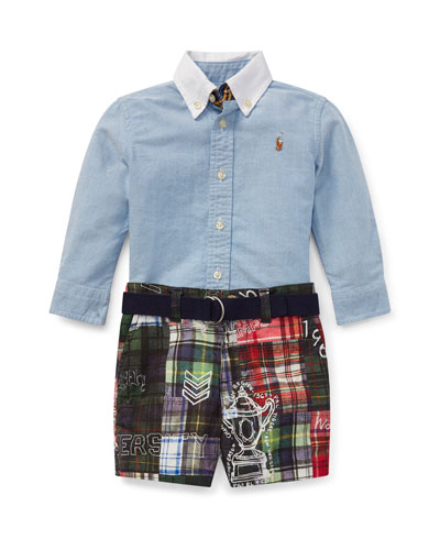 Chambray Top w/ Patchwork Shorts & Solid D-Ring Belt  Size 6-14 Months