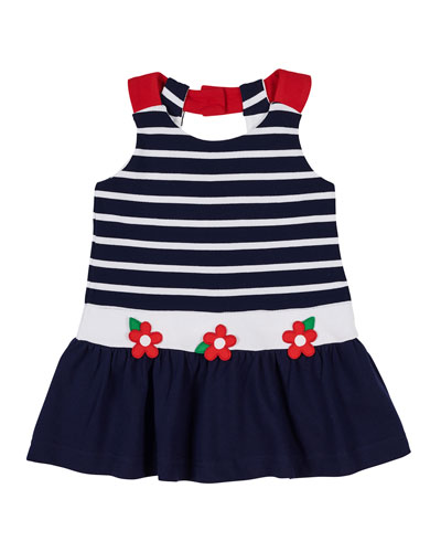a9b669e3e Stripe Pique Dress w  Flower Appliques Size 2-6X