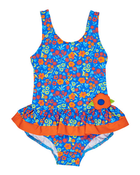 Florence Eiseman Floral One-Piece Swimsuit, Size 2-6X