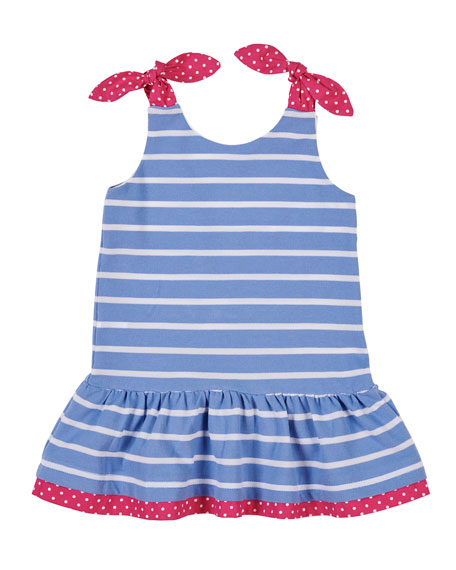Cherry Embroidered Stripe Knit Pique Dress, Size 2-6
