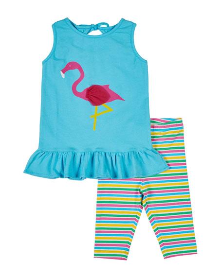 Florence Eiseman Flamingo Tank w/ Multi-Stripe Leggings, Size